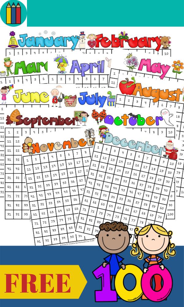 Fun Math Printables for Preschool and Kindergarten   Kids Themed Games   Hands On Math Homeschool Activities   Kids Classroom Center Ideas and Worksheets #FreePrintableWorksheetsForKids #hundredschart #year #annual