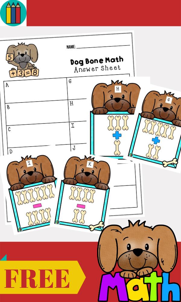 Fun Animal Printables for Preschool and Kindergarten | Animal Themed Math Games | Hands On Math Homeschool Activities | Kids Classroom Center Ideas and Worksheets #FreePrintableWorksheetsForKids #Dog #Puppy #Animals
