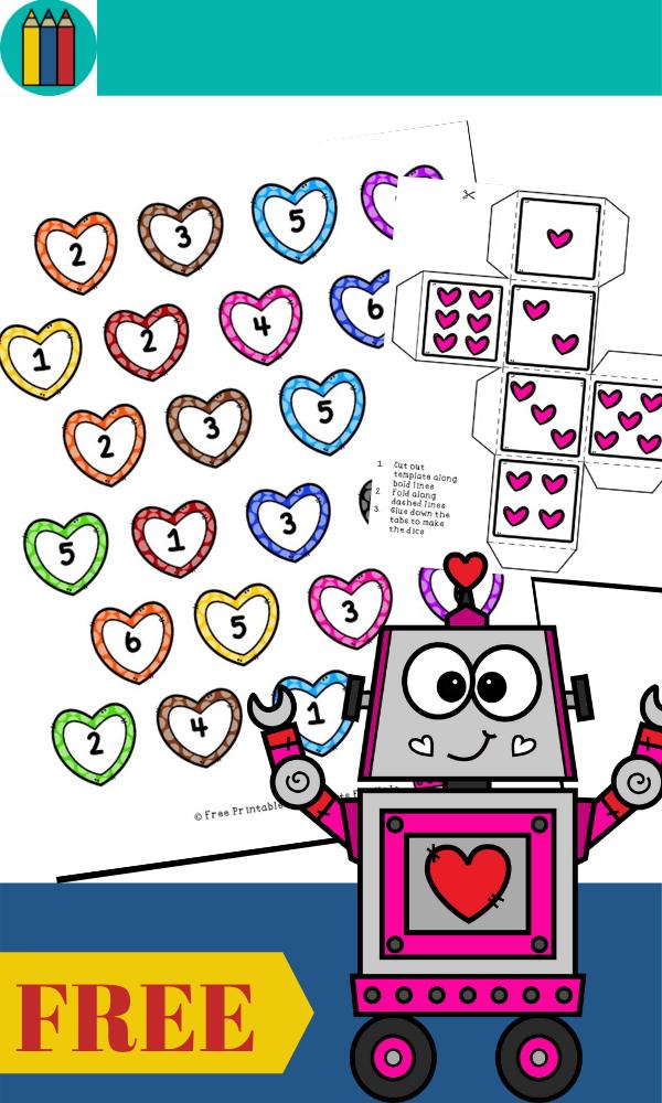 Fun Valentines Printables for Preschool and Kindergarten | Heart Themed Number Games | Hands On Math Homeschool Activities | Kids Classroom Center Ideas and Worksheets #FreePrintableWorksheetsForKids #Valentines #Numbers #heart