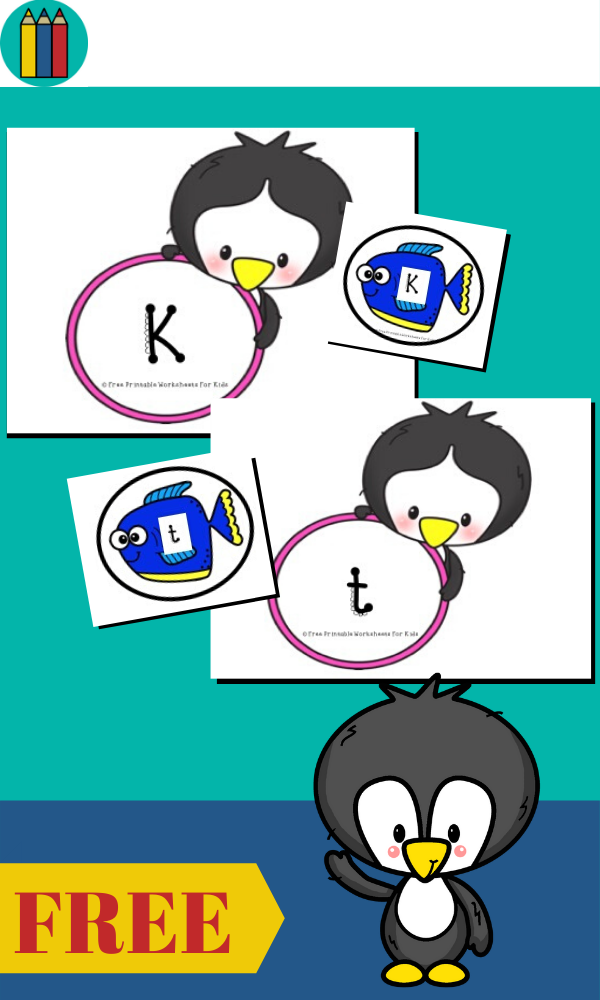 Penguin and Fish Letter Matching | Free Printable Worksheets For Kids | Printable penguin and fish themed game to pair up upper and lowercase letters