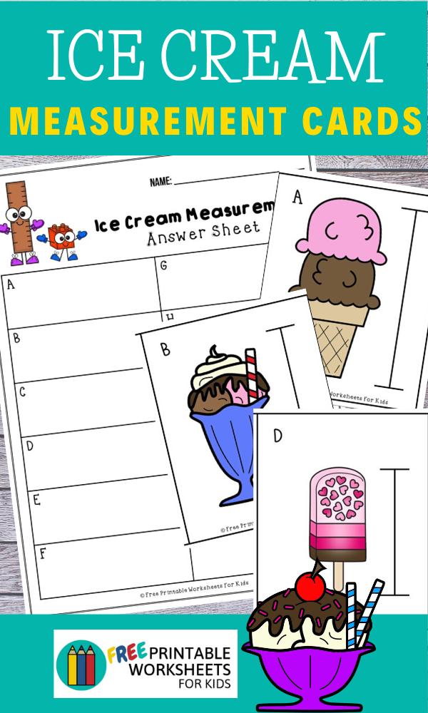 Fun Ice Cream Printables for Preschool and Kindergarten   Summer Themed Measurement Games   Hands On Math Homeschool Activities   Kids Classroom Center Ideas and Worksheets #FreePrintableWorksheetsForKids #icecream #summer measurement