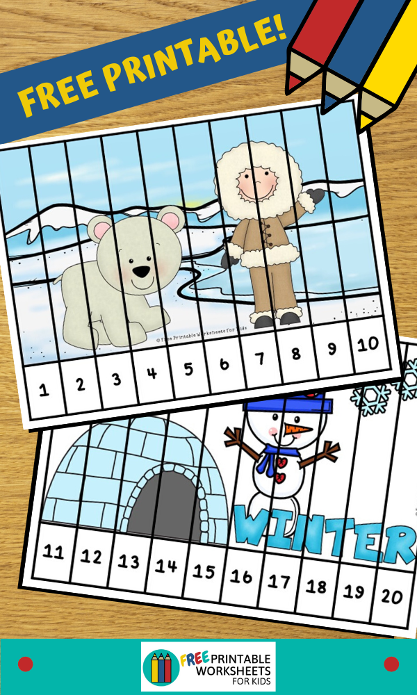 Fun Winter Printables for Preschool and Kindergarten   Winter Themed Math Games   Hands On Math Homeschool Activities   Kids Classroom Center Ideas and Worksheets #FreePrintableWorksheetsForKids winter #kidspuzzle
