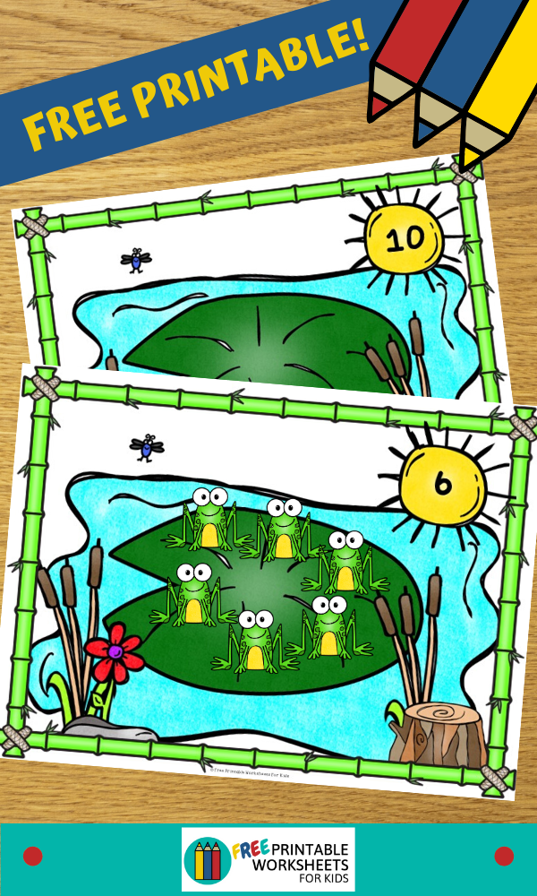 Fun Frog Printables for Preschool and Kindergarten   Spring Themed Math Games   Hands On Counting Homeschool Activities   Kids Classroom Center Ideas and Worksheets #FreePrintableWorksheetsForKids #frog #spring #counting