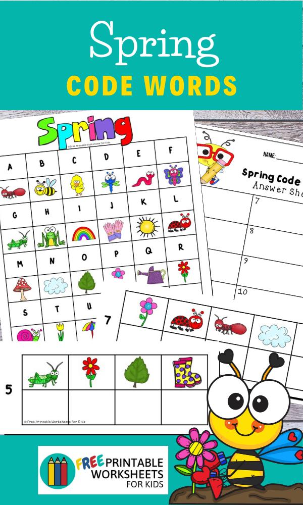 Fun Spring Printables for Preschool and Kindergarten | Spring Themed Word Games | Hands On Literacy Homeschool Activities | Kids Classroom Center Ideas and Worksheets #FreePrintableWorksheetsForKids #Spring #codes