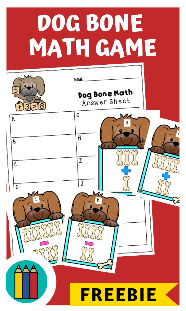 Dog Bone Math Game | Free Printable Worksheets For Kids | Count up the bones to help the adorable little puppies solve simple math sums in this printable game