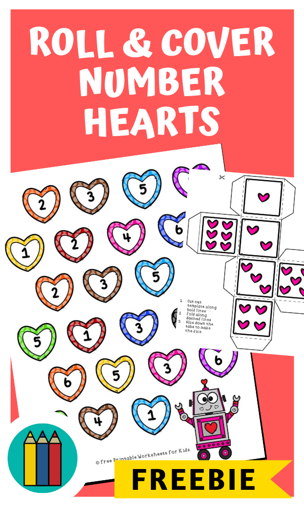 Fun Valentines Printables for Preschool and Kindergarten | Heart Themed Number Games | Hands On Math Homeschool Activities | Kids Classroom Center Ideas and Worksheets #FreePrintableWorksheetsForKids #Valentines #Numbers #heart