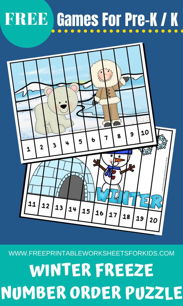 Fun Winter Printables for Preschool and Kindergarten | Winter Themed Math Games | Hands On Math Homeschool Activities | Kids Classroom Center Ideas and Worksheets #FreePrintableWorksheetsForKids winter #kidspuzzle