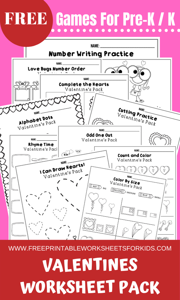 Fun Valentines Printables for Preschool and Kindergarten   February Valentines Themed Games   Hands On Homeschool Activities   Kids Classroom Center Ideas and Worksheets #FreePrintableWorksheetsForKids #Valentines #Heart #February
