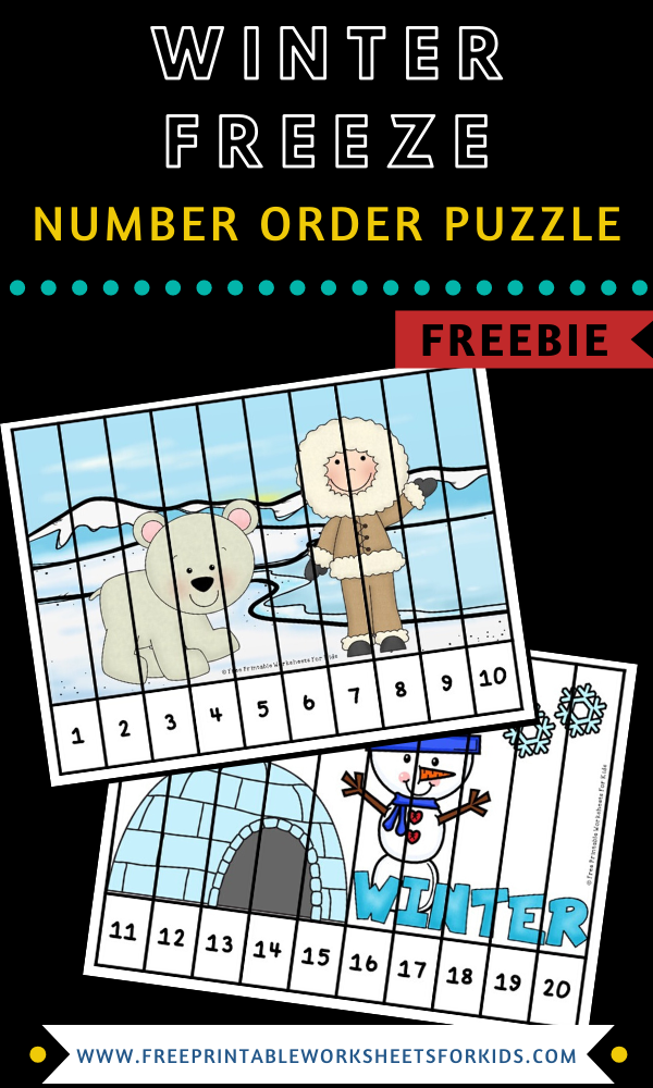 Winter Freeze Number Puzzle Strips | Free Printable Worksheets For Kids | 2 printable winter theme puzzles to practice number order from 1 to 20.