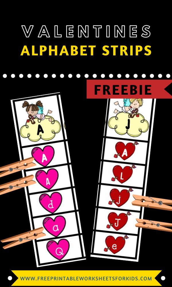 Fun Valentines Printables for Preschool and Kindergarten   Valentines Themed Alphabet Games   Hands On Literacy Homeschool Activities   Kids Classroom Center Ideas and Worksheets #FreePrintableWorksheetsForKids #Valentines #Alphabet