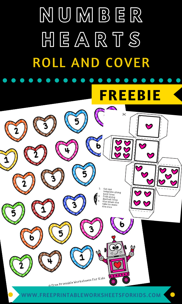 Fun Valentines Printables for Preschool and Kindergarten   Heart Themed Number Games   Hands On Math Homeschool Activities   Kids Classroom Center Ideas and Worksheets #FreePrintableWorksheetsForKids #Valentines #Numbers #heart