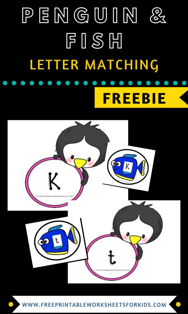 Fun Penguin Printables for Preschool and Kindergarten   Winter Themed Alphabet Games   Hands On Literacy Homeschool Activities   Kids Classroom Center Ideas and Worksheets #FreePrintableWorksheetsForKids #letter #matching #alphabet #penguin