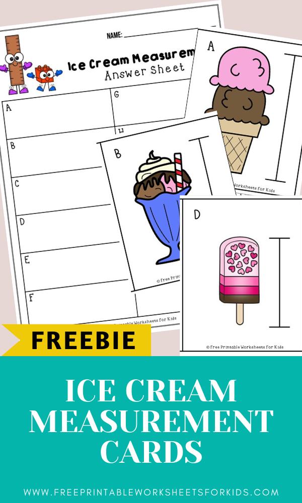 Fun Ice Cream Printables for Preschool and Kindergarten | Summer Themed Measurement Games | Hands On Math Homeschool Activities | Kids Classroom Center Ideas and Worksheets #FreePrintableWorksheetsForKids #icecream #summer measurement