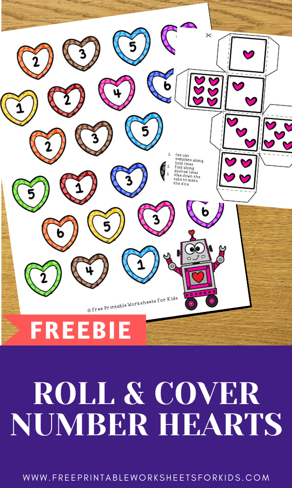 Roll and Cover Number Hearts | Free Printable Worksheets For Kids | Printable number recognition game that's perfect for Valentines!