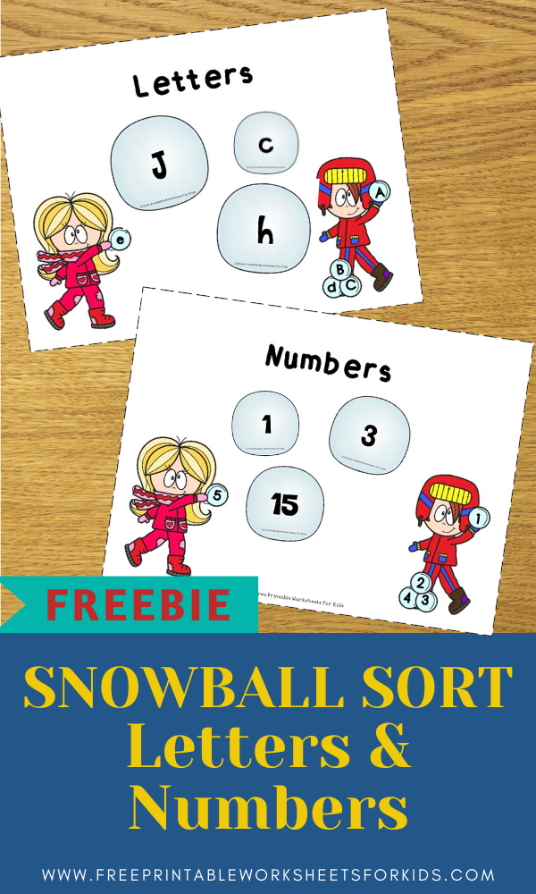Snowball Sorting | Free Printable Worksheets For Kids | Sort out numbers from letters or uppercase letters from lowercase letters in this winter themed activity.