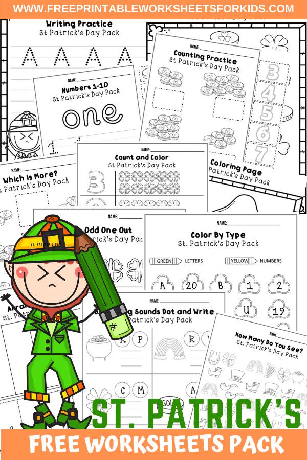 Fun Leprechaun Printables for Preschool and Kindergarten   March St Patricks Day Themed Games   Hands On Homeschool Activities   Kids Classroom Center Ideas and Worksheets #FreePrintableWorksheetsForKids #StPatricksDay #Leprechaun #March