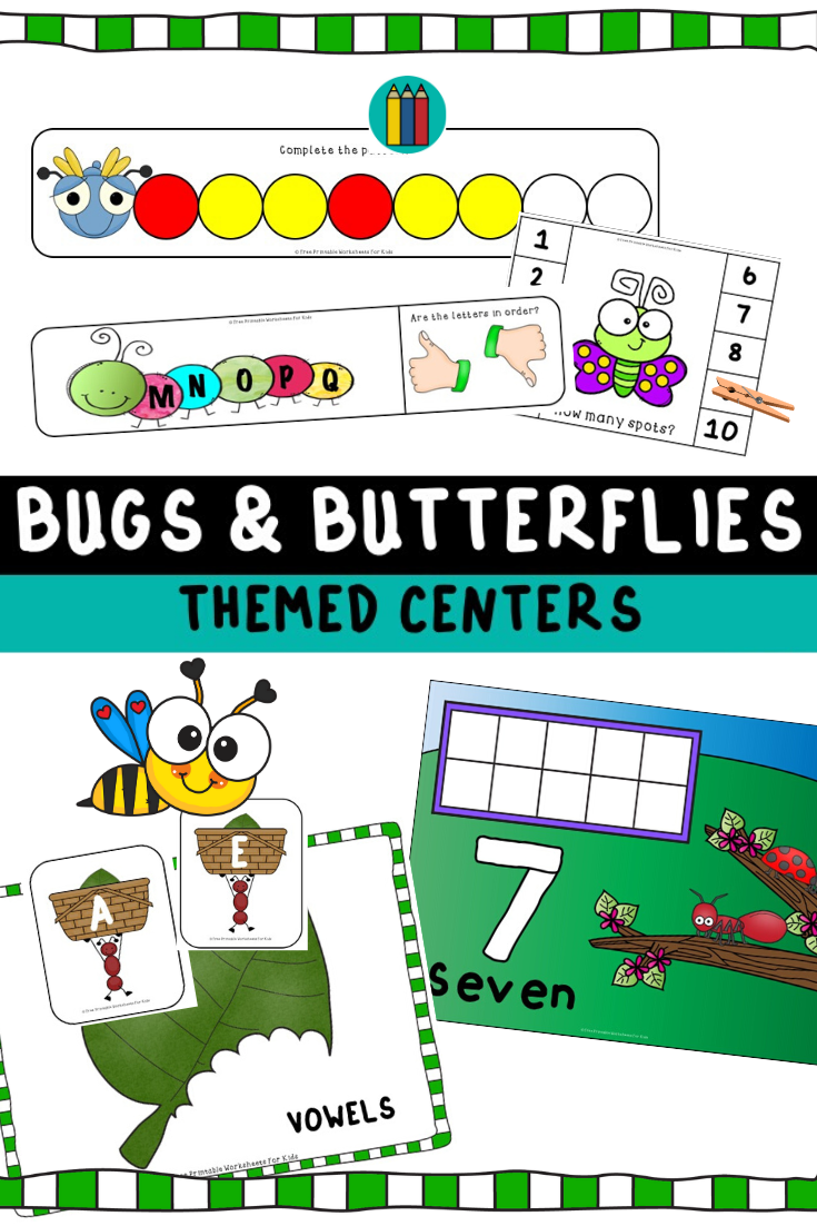 Bugs and Butterflies Themed Literacy and Math Centers | Free Printable Worksheets For Kids | (*Disclaimer: Some links in this post are affiliate links. I may receive a small commission but this does not increase the price you pay. Thank you for supporting this blog!)