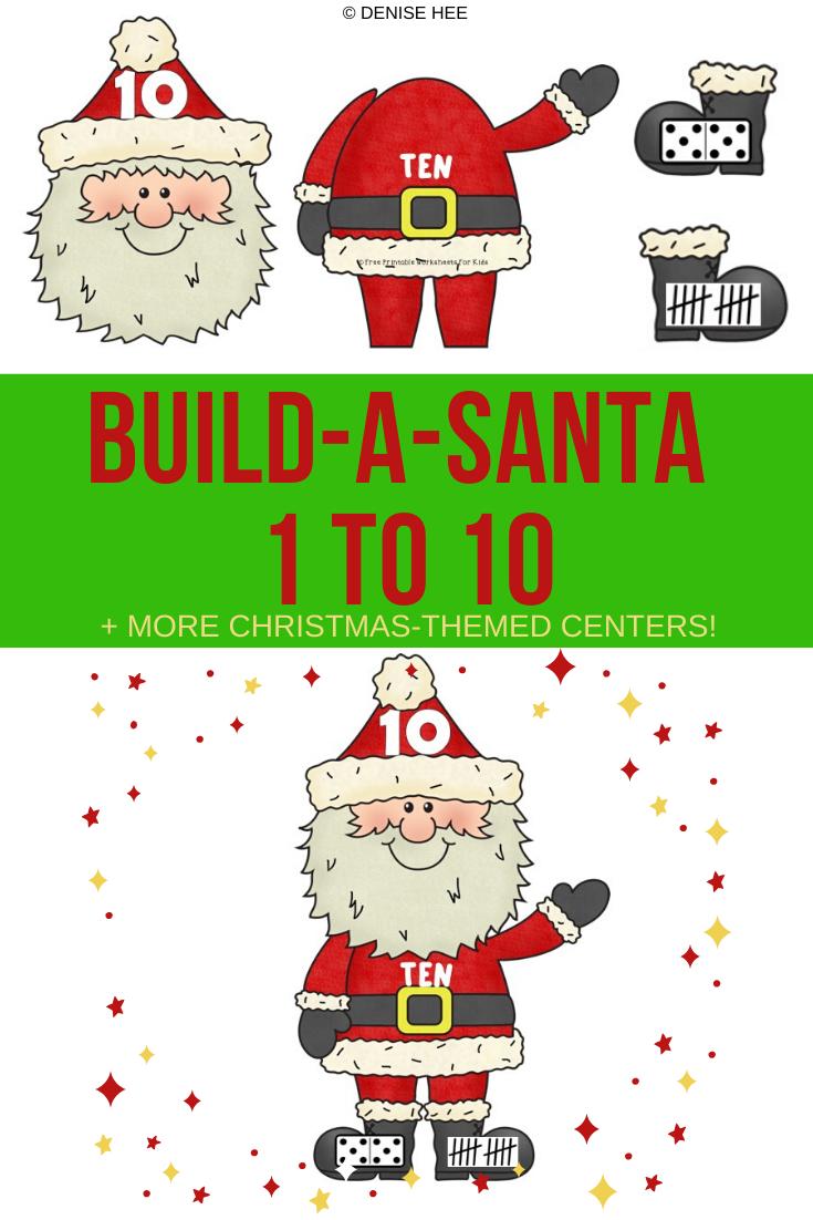 Fun Christmas Printables for Preschool and Kindergarten | 10 Literacy and Math Christmas Themed Games | Alphabet Numbers and Fine Motor Hands On Homeschool Activities | Kids Classroom Center Ideas #FreePrintableWorksheetsForKids #Christmas #Santa