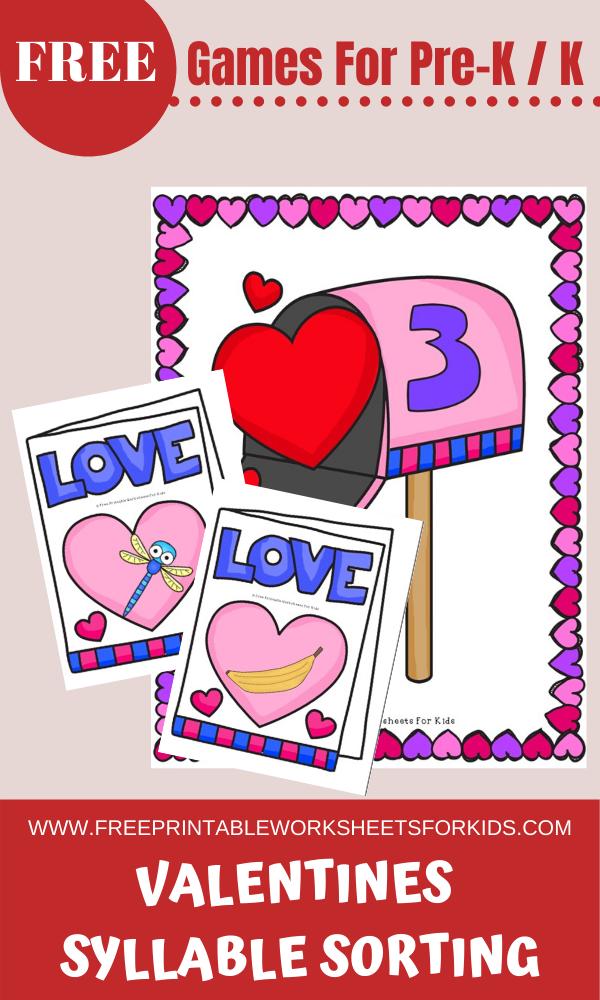 Fun Valentines Printables for Preschool and Kindergarten   10 Literacy and Math Valentines Themed Games   Alphabet Numbers and Fine Motor Hands On Homeschool Activities   Kids Classroom Center Ideas #FreePrintableWorksheetsForKids #Valentines #Love #Heart