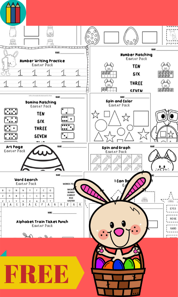 Fun Easter Printables for Preschool and Kindergarten | April Easter Themed Games | Hands On Homeschool Activities | Kids Classroom Center Ideas and Worksheets #FreePrintableWorksheetsForKids #Easter #Bunny #April