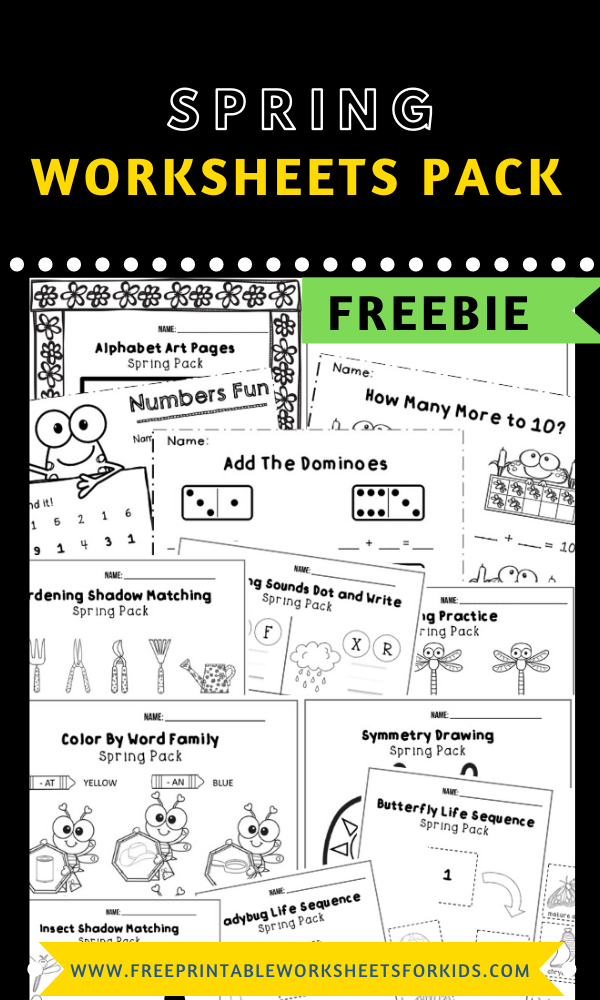 Fun Spring Printables for Preschool and Kindergarten | May Spring Themed Games | Hands On Homeschool Activities | Kids Classroom Center Ideas and Worksheets #FreePrintableWorksheetsForKids #Spring #Bugs #Butterfly #Flowers #Frogs