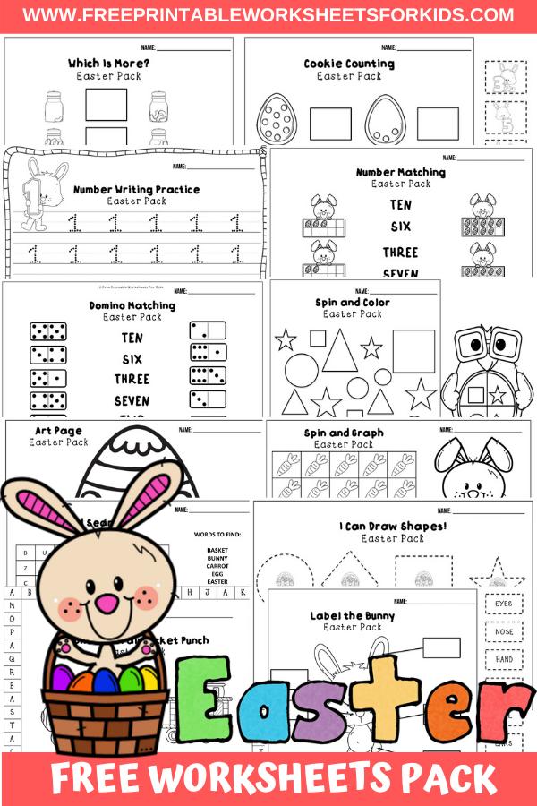 Fun Easter Printables for Preschool and Kindergarten   April Easter Themed Games   Hands On Homeschool Activities   Kids Classroom Center Ideas and Worksheets #FreePrintableWorksheetsForKids #Easter #Bunny #April