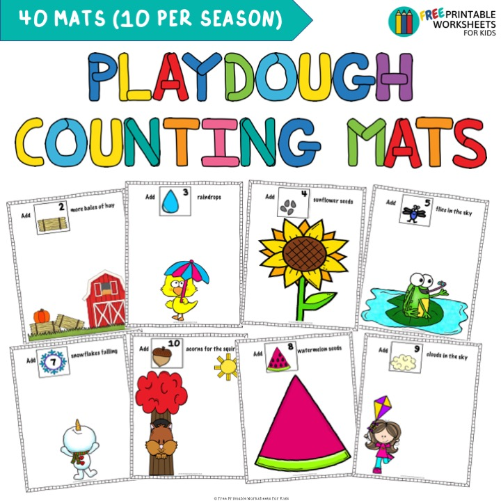 Fun Playdough Printables for Preschool and Kindergarten | Seasonal Counting Mats | Hands On Homeschool Activities | Kids Classroom Center Ideas and Worksheets #FreePrintableWorksheetsForKids #Playdough #Counting #Seasons