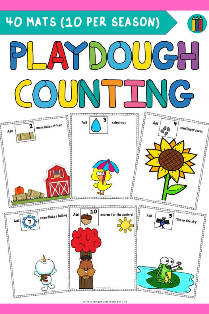 Seasonal Playdough Counting Mats | Free Printable Worksheets For Kids | With 40 playdough counting mats included (10 per season), this fun hands-on resource will be a great addition to your math centers all year long!