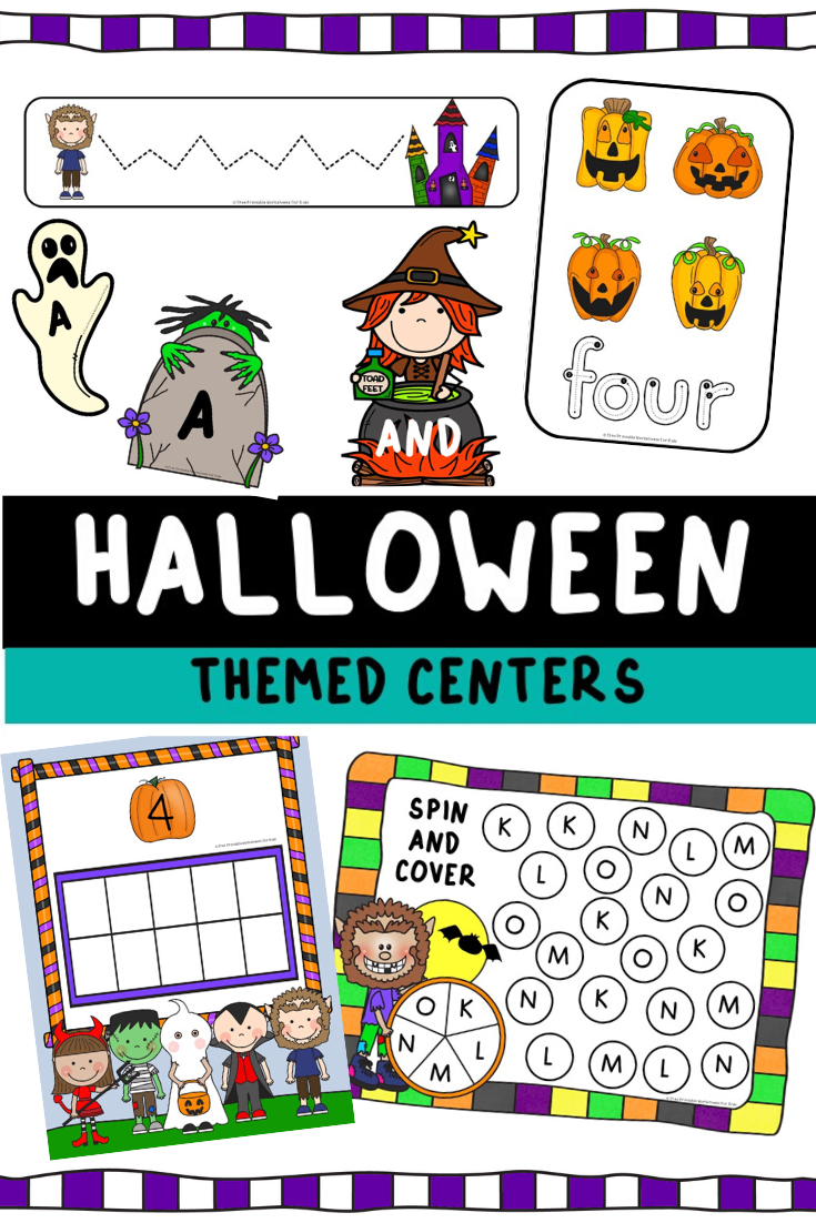 Halloween Themed Literacy and Math Centers | Free Printable Worksheets For Kids | 10 fun Halloween-themed literacy and math centers for preschool and kindergarten. No tricks, only treats, in this pack!