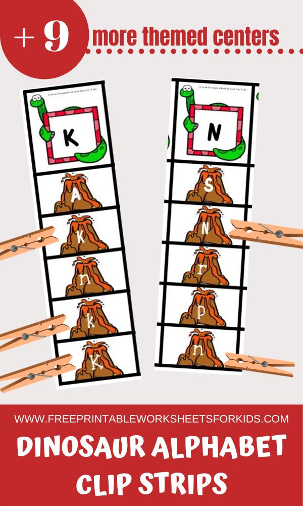 Fun Dinosaur Printables for Preschool and Kindergarten | Dinosaur Themed Literacy and Math Centers | Hands On Homeschool Activities | Kids Classroom Center Ideas and Worksheets #FreePrintableWorksheetsForKids #Dinosaur #Alphabet #Number