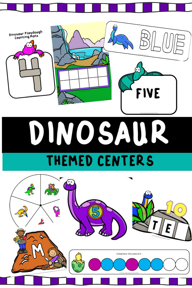 Dinosaur Themed Literacy and Math Centers | Free Printable Worksheets For Kids | 10 fun dinosaur-themed literacy and math games for preschool and kindergarten