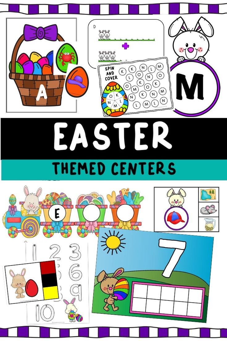 Easter Themed Literacy and Math Centers | Free Printable Worksheets For Kids | Kids will enjoy learning all about Easter while improving various literacy and math skills with this easy-prep pack of 10 centers. They're so much fun that your preschoolers and kindergarteners might even put their chocolate eggs down!