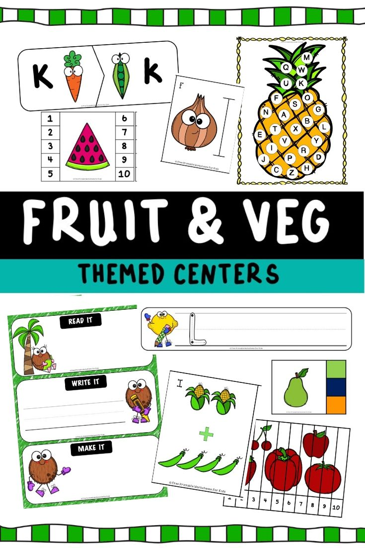 Fruits and Vegetables Themed Literacy and Math Centers | Free Printable Worksheets For Kids | Looking for a fun way to gets kids eating more fruits and vegetables? This pack includes 10 deliciously fun activities that will improve early literacy and math skills in preschoolers and kindergarteners. Healthy eating habits are strengthened when kids are exposed to more themed activities like these.