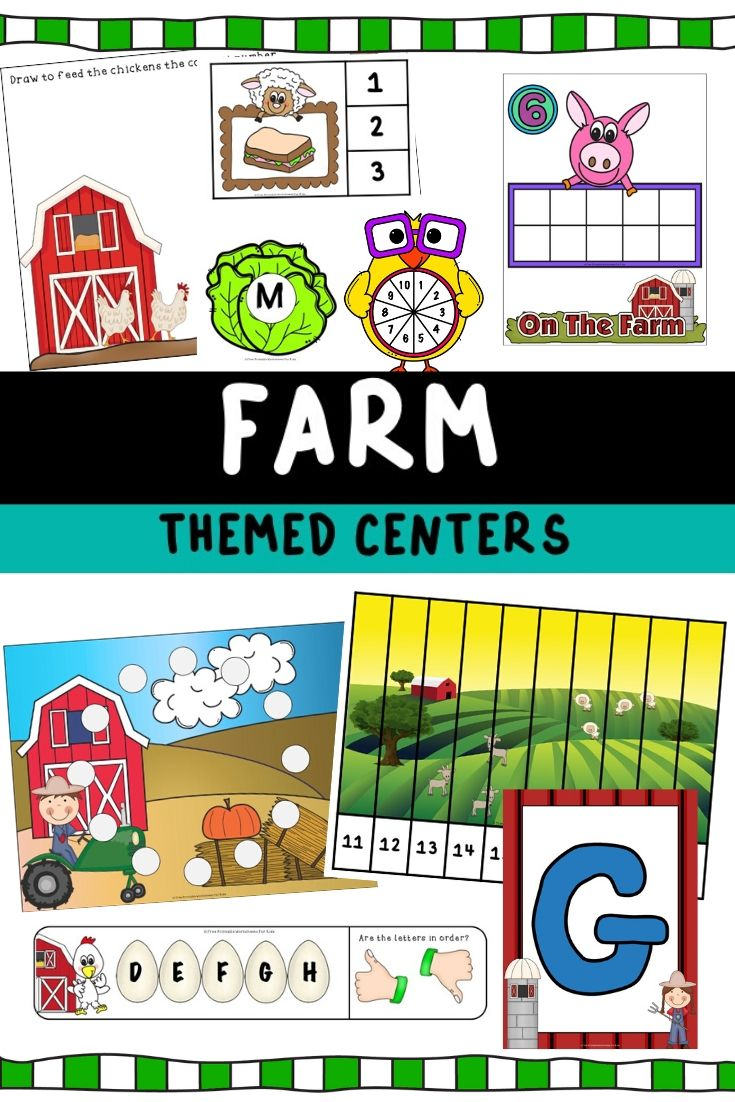 Farm Themed Literacy and Math Centers | Free Printable Worksheets For Kids | Are you ready for some farm fun? These 10 simple literacy and math centers will have kids clucking with excitement and asking for moo-re!