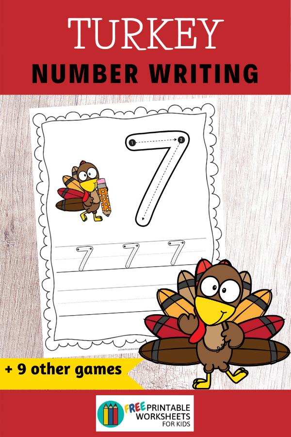 Fun Thanksgiving Printables for Preschool and Kindergarten | 10 Turkey Literacy and Math Games | Alphabet Numbers and Fine Motor Hands-On Homeschool Activities | Kids Classroom Center Ideas #FreePrintableWorksheetsForKids #Turkey #Thanksgiving