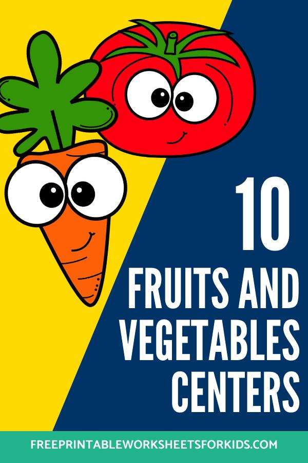 Fun Fruit and Vegetable Printables for Preschool and Kindergarten | 10 Food Literacy and Math Games | Alphabet Numbers and Fine Motor Hands-On Homeschool Activities | Kids Classroom Center Ideas #FreePrintableWorksheetsForKids #Fruit #Vegetable
