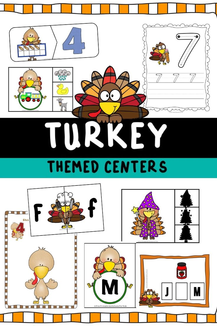 Turkey Themed Literacy and Math Centers | Free Printable Worksheets For Kids |   Amazon.co.uk Widgets