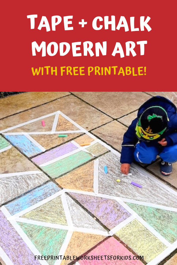 Easy Mondrian Art | Free Printable Worksheets For Kids | My preschooler loved doing this super simple tape and chalk art activity outdoors but if you don't have a garden, you can download the printable I made for you! This colorful fine motor art activity is fail-proof and looks beautiful!