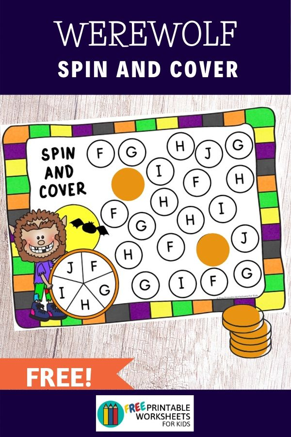 Looking for a new Halloween literacy activity? This spin and cover letter recognition game will help preschoolers practice letter identification for capital letters a to Z. Your students will be howling like a werewolf with excitement as they race to find all the letters on their mat! This free printable can be used as an individual literacy station in the classroom or as a small group activity. Just bring out your Halloween-themed tokens, a spinner and you're ready to have some fun!