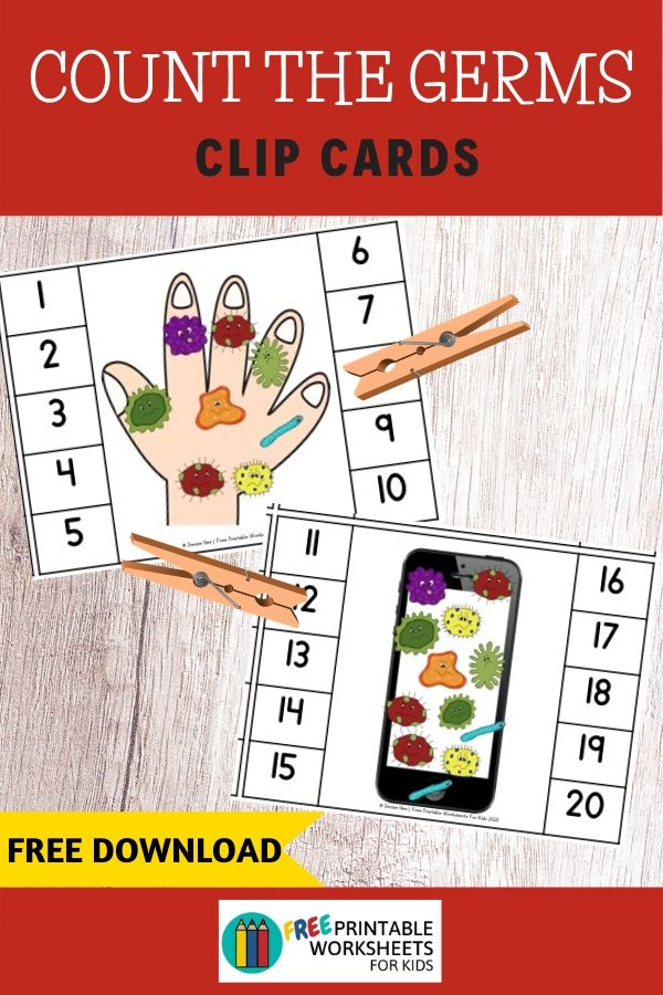 Count the Germs Clip Cards | Free Printable Worksheets For Kids | In this fun game, kids will count the number of germs on hands or everyday objects that are known to be breeding grounds for bacteria and viruses. This activity helps to strengthen fine motor skills and math in preschoolers and kindergarteners.  Other Health-themed Printable Centers and Worksheets Fruit and Vegetable Activity Pack - A set of 5 different activities that will encourage healthy eating  Farmers Market Activity Pack - These printables will work great with the fruit and vegetable pack above if you're planning a healthy eating themed week  Emotions Clip Cards - don't forget that mental and emotional health is equally important as physical health Count The Germs Clip Cards Setup For this activity you will need: Paper Printer Scissors Wooden pegs or clothespins Optional: laminator If you don't have the materials needed, don't sweat! You can get it delivered to your doorstep really quickly with Amazon Prime. You can get a 30-day free trial here.  Playing This Fun Counting Game Print out the sheets and cut them into individual cards. If you plan to reuse this activity or work in a classroom, then I suggest laminating them. Provide some wooden clips or plastic clothespins. Ask your child to count the number of germs on the hands or everyday objects and then place a peg or clip on the correct number. Kids will learn to count to 20 in this activity while strengthening their finger muscles.  Pair Up This Handwashing Theme Activity This Give Me 5 Handwashing Poster would look so cute in any classroom or home.  Cutie Sue Fights the Germs - This is an adorable rhyming book that will surely become your kid's favorite!  Wash Your Hands Please - This coloring book comes with 25 designs making it a great option for a class to share.