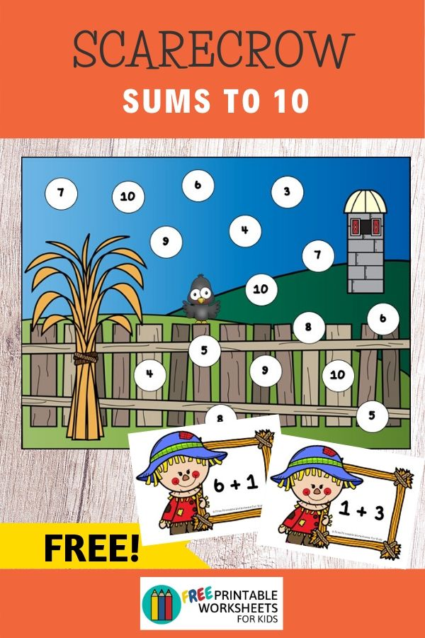 Scarecrow Sums to 10 | Free Printable Worksheets For Kids | Kids will fall in love with this scarecrow-themed math activity that's perfect for autumn. So quick to setup in just a few minutes, you can sit back and relax while your preschooler or kindergartener has fun learning to solve simple sums to 10.