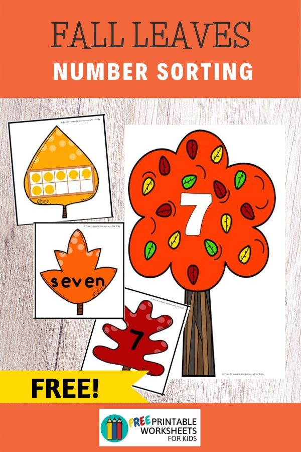 Fall Leaves Number Sorting | Free Printable Worksheets For Kids | Autumn is approaching and the leaves are falling to the ground. In this printable game, kids will help to sort out the leaves and find which numbered tree they came from. It's a fun way to practice number recognition, reading number words and count with ten frames.