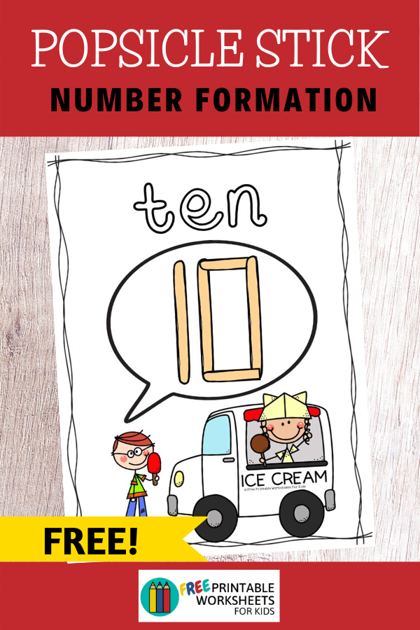Popsicle Stick Number Formation Mats 1-10 | Free Printable Worksheets For Kids | These number formation mats are perfect for summer! Just grab some popsicle sticks and some craft velcro dots to get started. Kids will love forming the numbers 1 to 10 when ice cream and popsicles are involved! Other Printable Math Centers and Worksheets Summer Edition Gross Motor Dice - Print out the themed dice and get the whole family, not just the kids, moving outdoors! </p>   Summer Sunflower Alphabet - This cut and paste activity helps kids master alphabetic order.   Watermelon 4-piece Number Puzzles - Work on number recognition, counting and subitizing all in one game.</p>  Popsicle Stick Number Formation Mats Setup For this activity you will need: PaperPrinterPopsicle SticksOptional: Velcro Dots   If you don't have the materials needed, don't sweat! You can get it delivered to your doorstep really quickly with Amazon Prime. You can get a 30-day free trial here.  Playing This Fun Numbers Game There are a few ways you could use this.  First, you could print out these cards at full-page size to use as number formation mats. Place the velcro dots at the ends of the popsicle sticks so that they can be joined together. Kids will take the popsicle sticks and attempt to copy the number illustrations shown. If you don't have popsicle sticks then of course you could substitute for other manipulatives or even playdoh. It would also be helpful to have some half length popsicle sticks.  If you're in a classroom setting, then it might be better to print full size to make it easier for the kids to copy, especially if you're using it with small groups.  The second way is to print them out in a smaller size to use as flashcards, number wall cards, posters, etc.  If you're using these at home, you might want to print them out smaller and put them unto a metal ring to keep the mats together and make it easier to store away or take around.  This game is great for summertime and I would suggest laminating them too. Pair Up This Numbers Activity This is one of 10 games included in my pack of Ice Cream Themed Literacy and Math Centers. Check out the other games here.