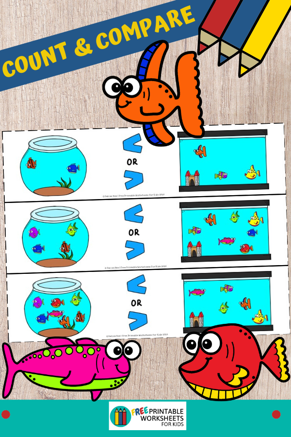 In this fun game, kids will count and compare groups of fish to see which has a bigger number and learn how to use the symbols greater than and lesser than correctly. Fun Counting Printables for Preschool and Kindergarten | Ocean Fish Themed Games | Hands On Math Homeschool Activities | Kids Classroom Center Ideas and Worksheets #FreePrintableWorksheetsForKids #fish #counting #comparing #ocean