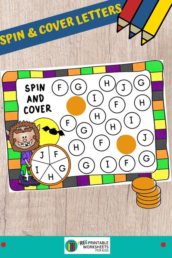 Kids will be howling like a werewolf with excitement as they race to find all the letters on their mat. This Halloween-themed center is perfect for preschool and kindergarten. Fun Alphabet Printables for Preschool and Kindergarten   Halloween Themed Letter Games   Hands On Literacy Homeschool Activities   Kids Classroom Center Ideas and Worksheets #FreePrintableWorksheetsForKids #Halloween #Werewolf #alphabet #spinandcover