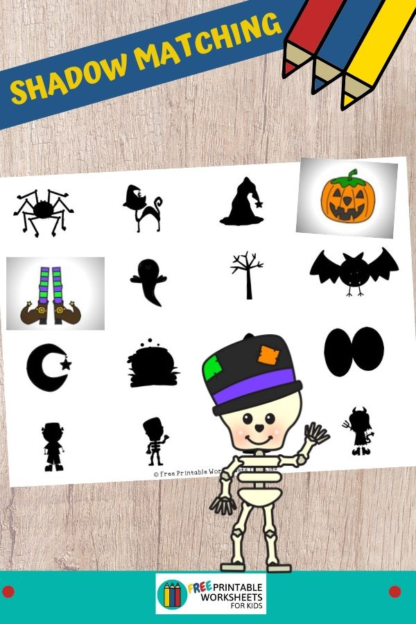 This Halloween shadow matching game develops visual discrimination and makes a great independent activity. Fun Halloween Printables for Preschool and Kindergarten | Halloween Themed Shadow Matching Games | Hands On Homeschool Visual Discrimination Activities | Kids Classroom Center Ideas and Worksheets #FreePrintableWorksheetsForKids #Halloween #shadowmatch #visual
