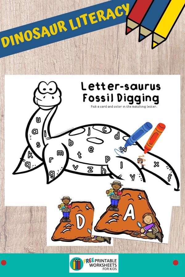 Preschoolers will love pretending to be a paleontologist so grab this free dinosaur themed printable and start working on letter recognition. Fun Dinosaur Printables for Preschool and Kindergarten   Dinosaur Themed Letters Game   Hands On ABC Homeschool Activities   Kids Classroom Center Ideas and Worksheets #FreePrintableWorksheetsForKids dinosaur #letters #alphabet