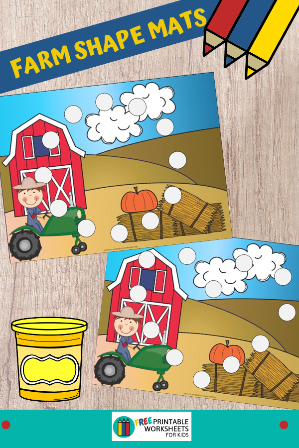 This farm-themed printable activity will help your child learn shapes and develop fine motor skills. It can be used with playdough, pom poms, dot markers etc. Fun Shape Printables for Preschool and Kindergarten   Farm Themed Games   Hands On Math Homeschool Activities   Kids Classroom Center Ideas and Worksheets #FreePrintableWorksheetsForKids #farm #shapes #finemotor #preschoolmath