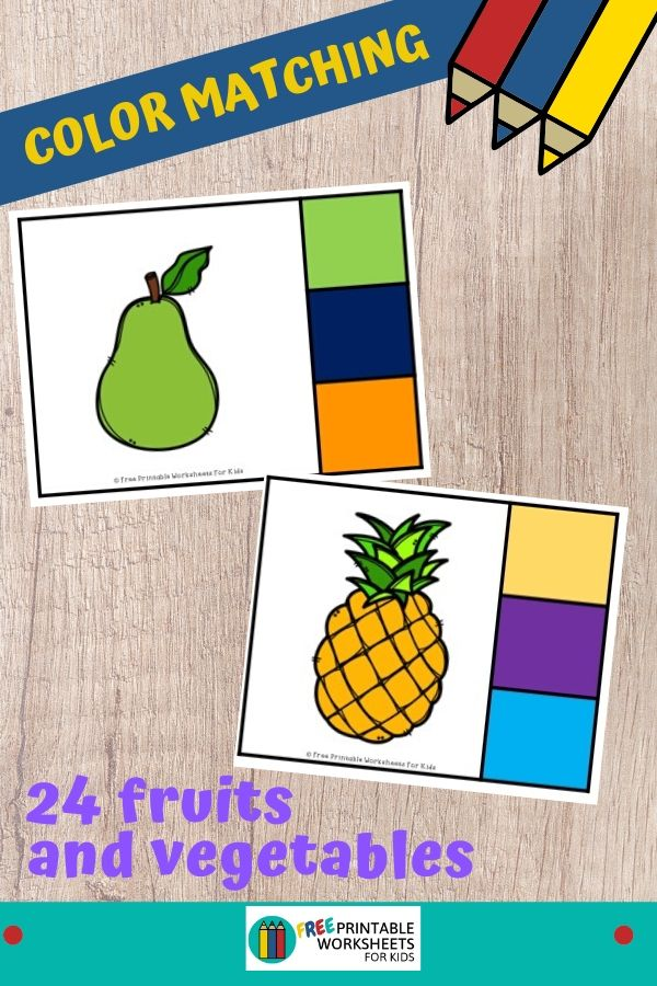 Preschoolers and kindergarteners will learn to identify colors while working on their fine motor strength in this fruit and vegetable themed printable activity. Fun Color Matching Printable for Preschool and Kindergarten   Fruit and Vegetable Themed Games   Hands On Homeschool Activities   Kids Classroom Center Ideas and Worksheets #FreePrintableWorksheetsForKids #fruit #vegetable #color
