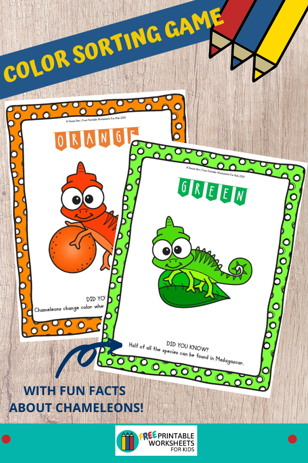 These Rainbow Chameleon Color Sorting Mats combine color word recognition, early math skills, fine motor development and science all in one. Fun Animal Printables for Preschool and Kindergarten   Color Themed Sorting Games   Hands On Math Homeschool Activities   Kids Classroom Center Ideas and Worksheets #FreePrintableWorksheetsForKids #rainbow #sorting #color
